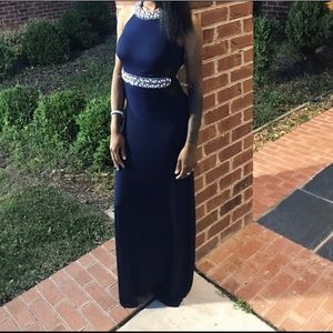 Dresses & Skirts - Navy Blue,Floor Length Ball Gown,rhinestone jewels